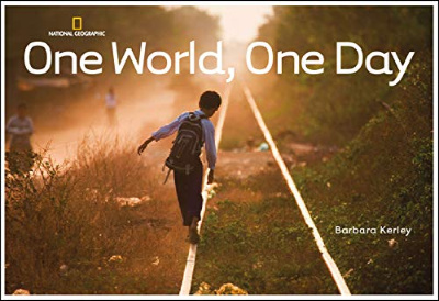 one world one day book cover showing boy on rail tracks