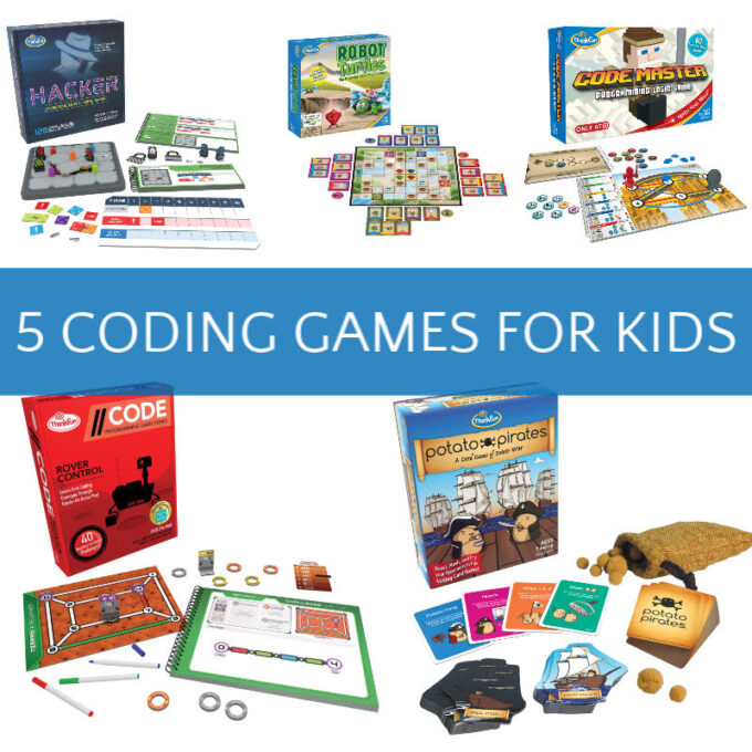 image showing 5 different coding board games