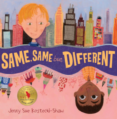 Same Same but Different book cover showing boy in city and in reverse boy in India