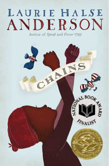 chains book cover with illustration of black girl reaching hands up