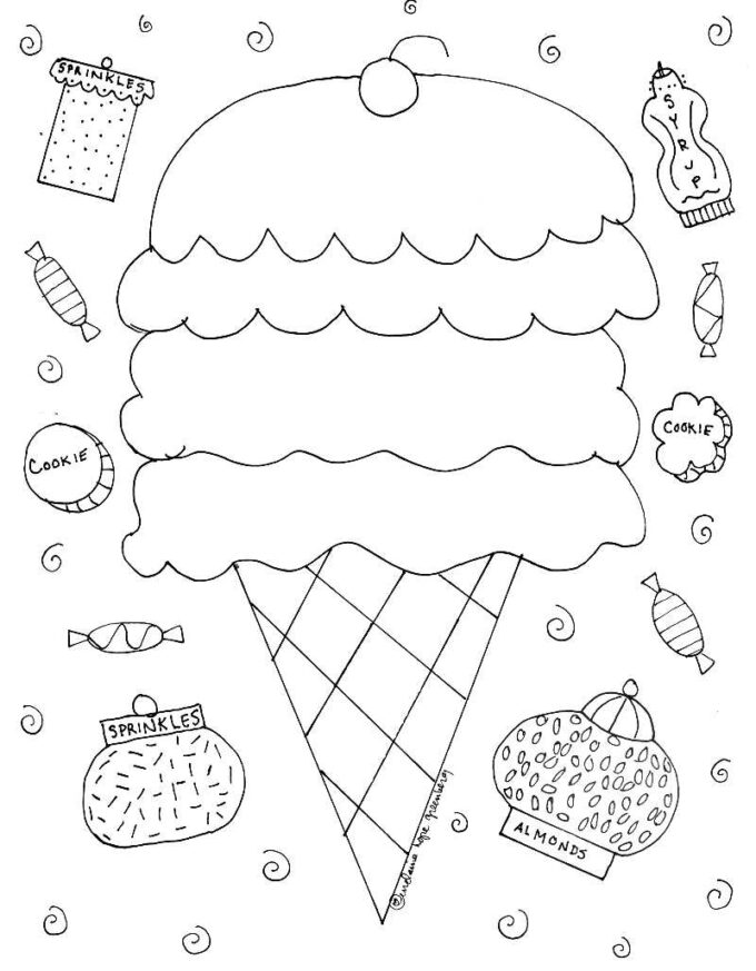 blank ice cream cone coloring page