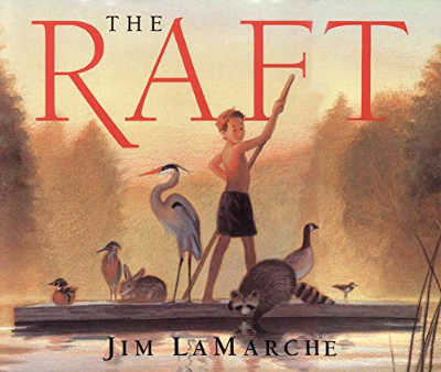 the raft book cover with boy floating on raft with assorted animals