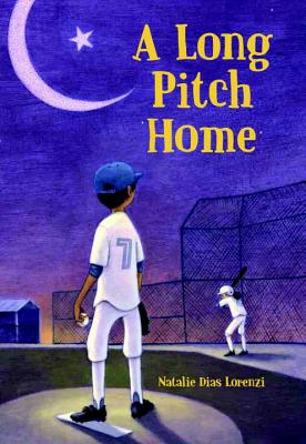 A long pitch home book cover showing boy on baseball field at night