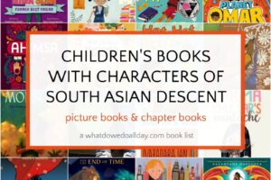 collage of children's books with south asian characters