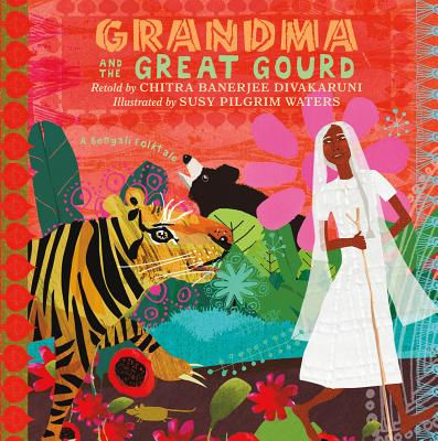 Grandma and the Great Gourd book cover with cut paper illustration of woman and tiger in jungle
