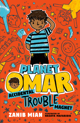 Planet Omar book cover. boy on orange doodle background