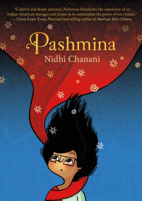 pashmina graphic novel cover. girl and red scarf