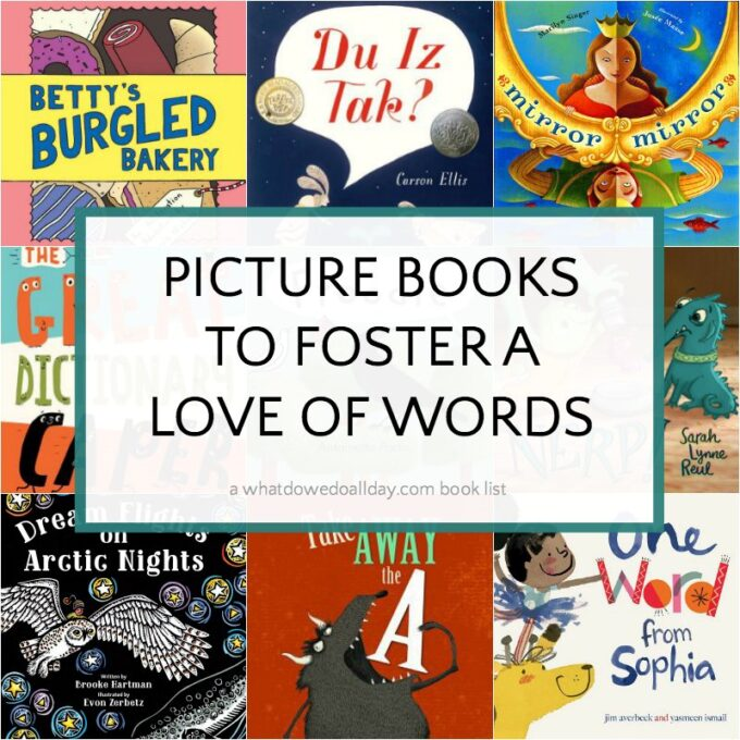 collage of picture books about words