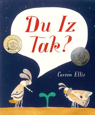du iz tak picture books featuring two bugs speaking nonsense over a sprout