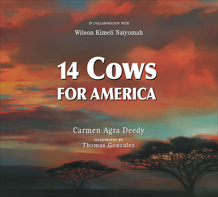 book cover 14 cows for america showing sunset sky and trees in africa