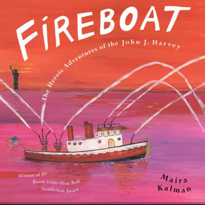 fireboat book cover showing boat in nyc harbor