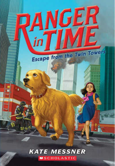 escape from the twin towers book cover showing dog running away from world trade center