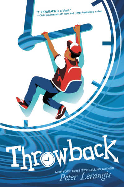 throwback book cover with boy handing on to giant clock face
