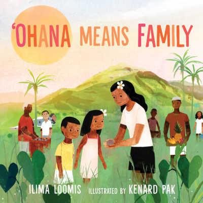 ohana means family book cover with hawaiian family outdoors