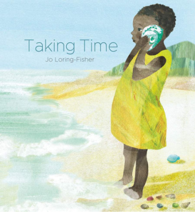 taking time book cover showing girl on the beach with shell