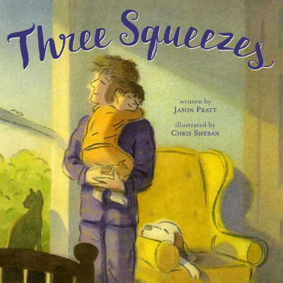 book cover for three squeezes showing dad hugging child