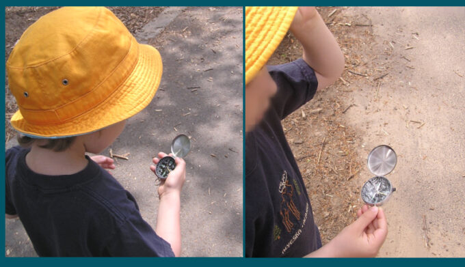 child using a compass