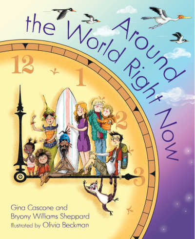 around the world right now book cover with multicultural group standing on large clock hand