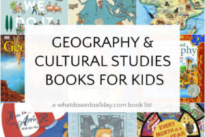 collage of geography books for kids