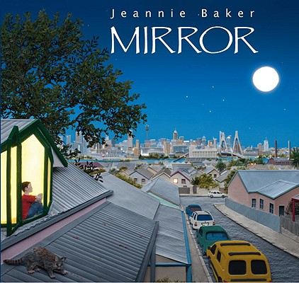 mirror book cover with boy looking out at night time city scape