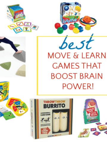 collage of move and learn games for kids