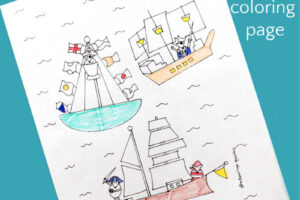 pirate coloring page with three pirate mice in three different ships