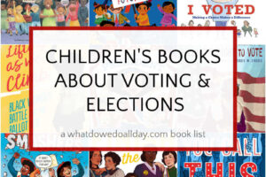 collage of children's books about voting