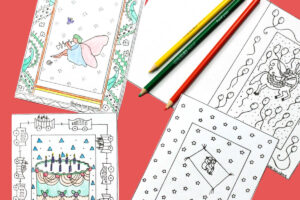 four birthday card coloring pages and colored pencils
