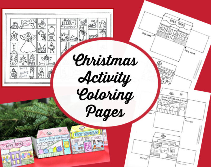christmas activity coloring pages collage