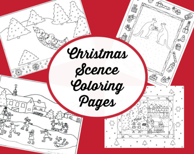 christmas scene coloring pages collage