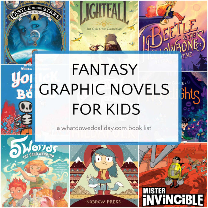collage of fantasy graphic novels for kids