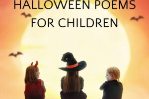 children in costume looking and the moon with halloween poems for children text