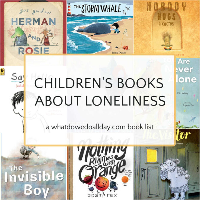 collage of children's books about loneliness