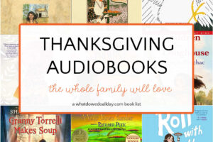 collage of thanksgiving audiobooks