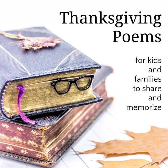 Thanksgiving poems and stack of books with leaf