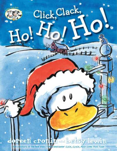 Click, Clack, Ho! Ho! Ho! book cover showing duck in santa hat