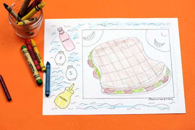 finished sandwich coloring page and crayons