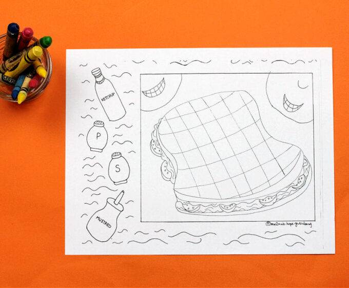 blank sandwich coloring page with crayons