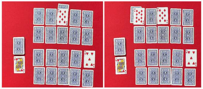 side by side layouts of twenty playing cards on a red background