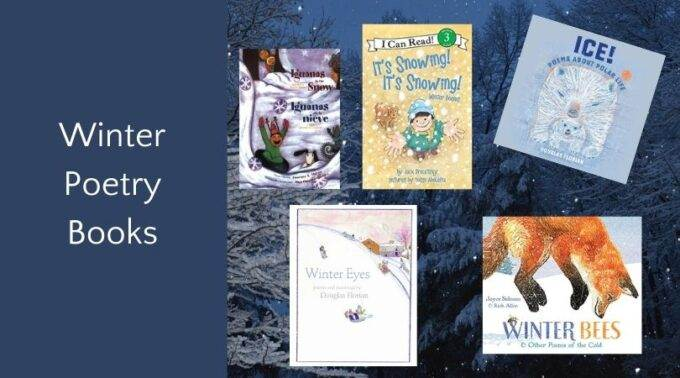winter poetry books for children book covers on snowy background