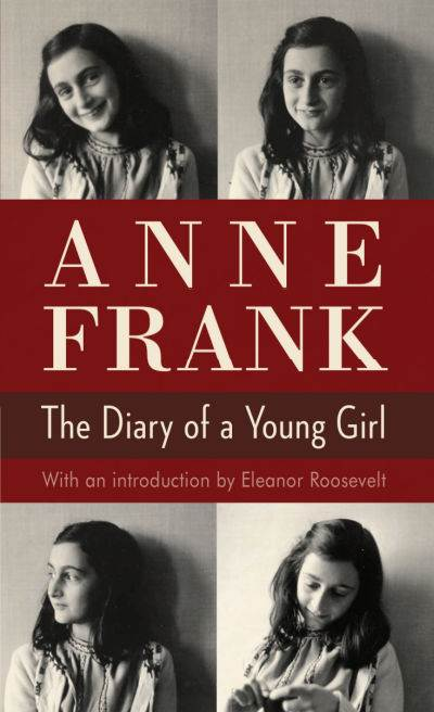 The Diary of a Young Girls by Anne Frank showing four candid photos of Anne