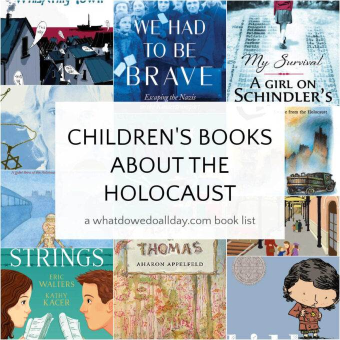 collage of children's books about the Holocaust