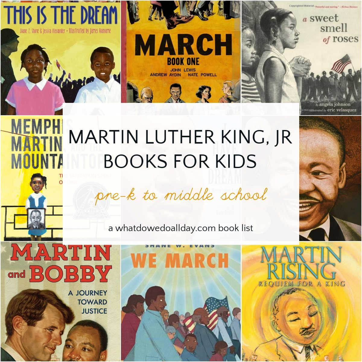 Collage of Martin Luther King books for kids