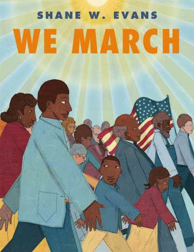 we march picture book cover featuring a family in the March on Washington