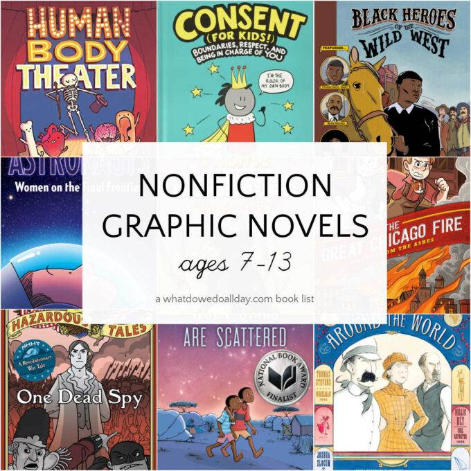 collage of nonfiction graphic novel book covers