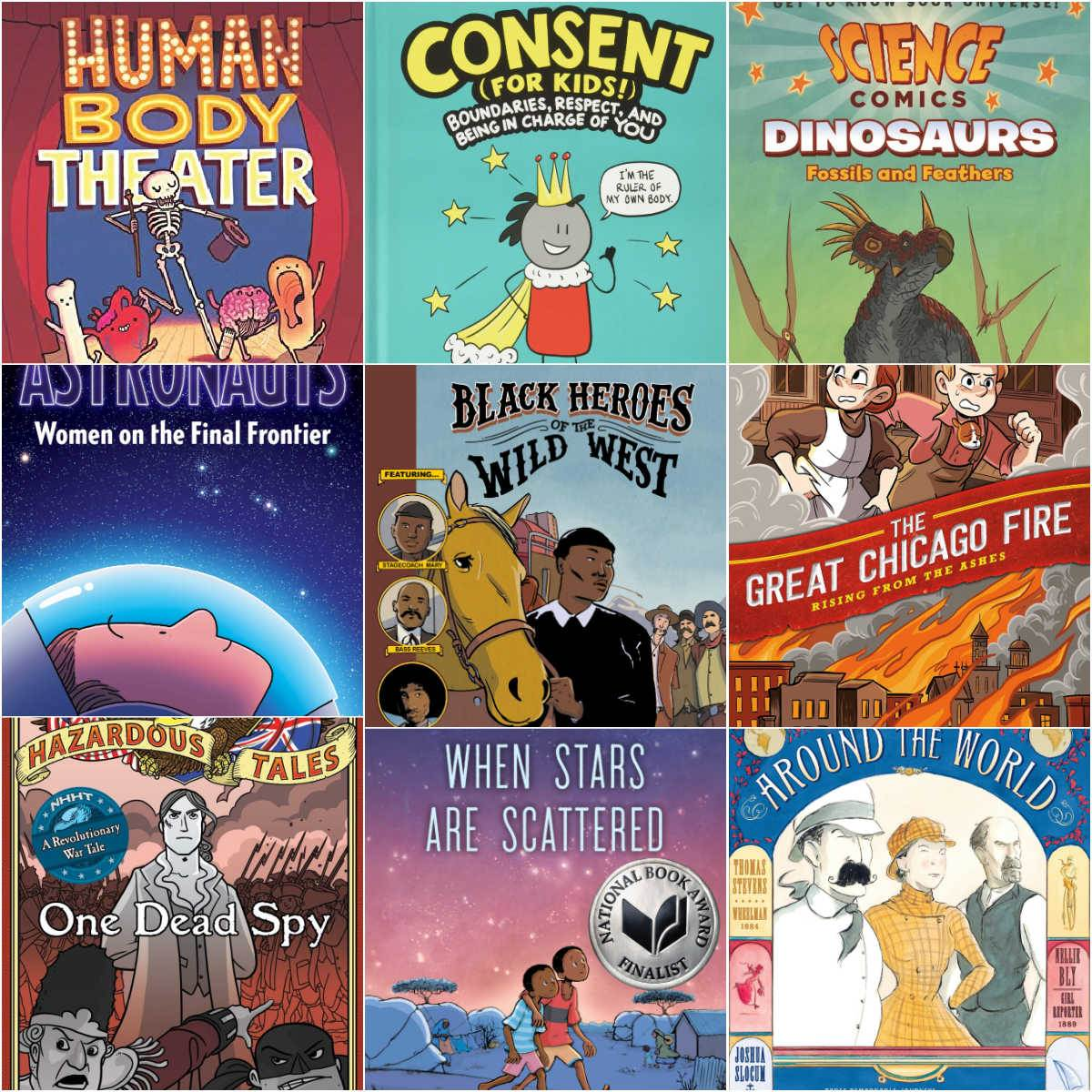 collage of nonfiction graphic novels for kids book covers