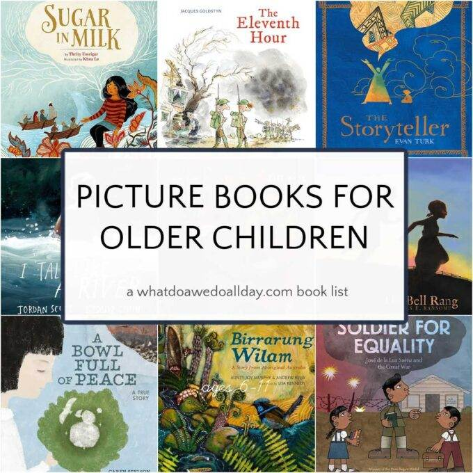 book cover collage of picture books to read to older kids
