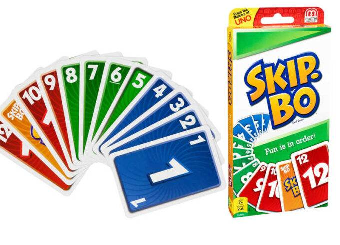 skip-bo card deck and fan of numbered cards in sequence