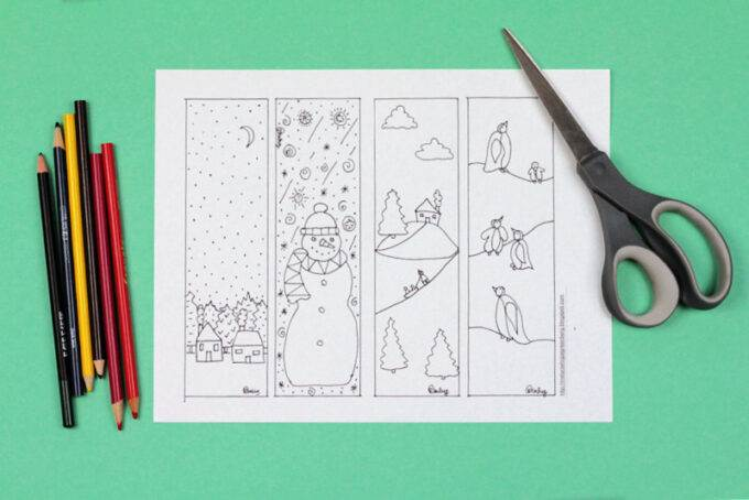blank winter bookmark coloring page with scissors and pencils