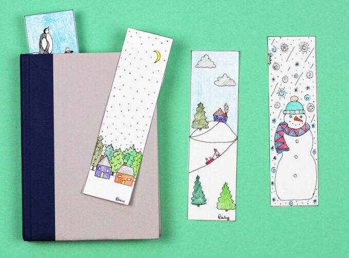 winter bookmarks and closed book